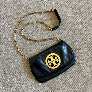 Authentic Tory Burch Logo Crossbody Clutch Black